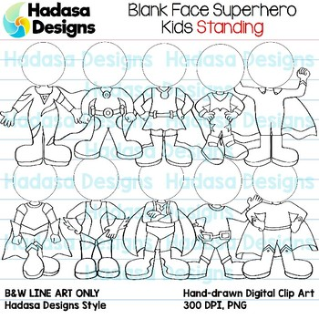 Hadasa Designs: Blank Face Superhero Kids Standing - Black and White Only