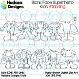 Hadasa Designs: Blank Face Superhero Kids Standing - Black
