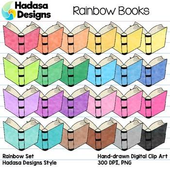 Hadasa Designs: Book Clip Art - Rainbow Set