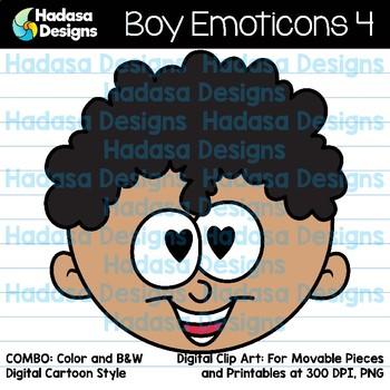 Hadasa Designs: Boy Emoticons Clip Art 4 - Combo Pack