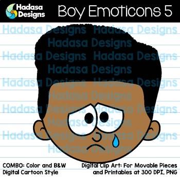 Hadasa Designs: Boy Emoticons Clip Art 5 - Combo Pack