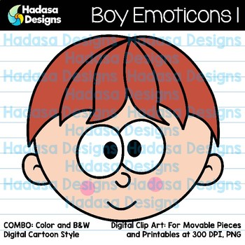 Hadasa Designs: Boy Emoticons Clip Art 1 - Combo Pack
