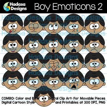 Hadasa Designs: Boy Emoticons Clip Art 2 - Combo Pack