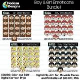 Hadasa Designs: Boy & Girl Emoticons Clip Art - Bundle 1
