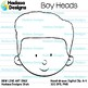 Hadasa Designs: Boy Heads clip art - B&W Set