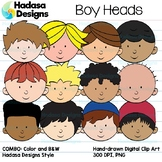 Hadasa Designs: Boy Heads clip art - COMBO PACK