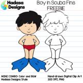 Hadasa Designs: Boy in Scuba Fins Clip Art FREEBIE
