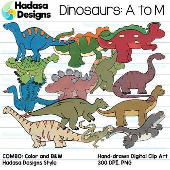 Hadasa Designs: Dinosaur Clip Art - A to M - COMBO PACK