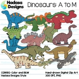 Hadasa Designs: Dinosaur Clip Art - A to M - COMBO PACK