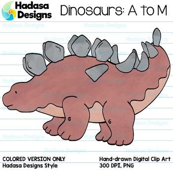 Hadasa Designs: Dinosaur Clip Art - A to M - Color Set