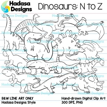 Hadasa Designs: Dinosaur Clip Art - N to Z - B&W Set