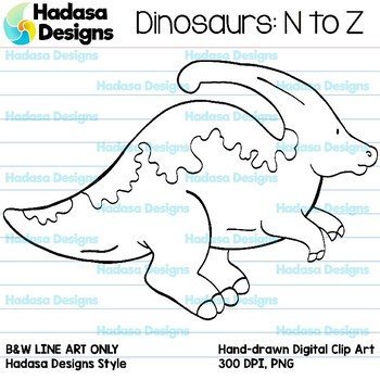 Hadasa Designs: Dinosaur Clip Art - N to Z - B&W Set