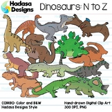 Hadasa Designs: Dinosaur Clip Art - N to Z - COMBO PACK