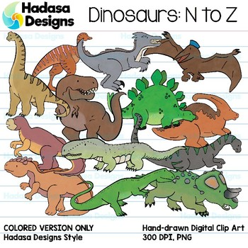 Hadasa Designs: Dinosaur Clip Art - N to Z - Color Set