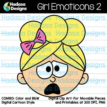 Hadasa Designs: Girl Emoticons Clip Art 2 - Combo Pack