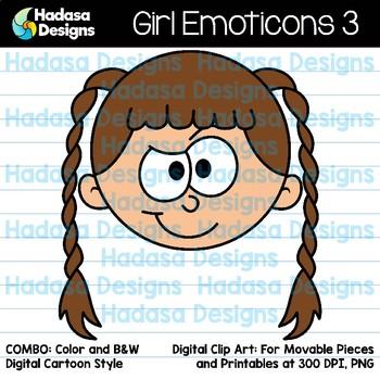 Hadasa Designs: Girl Emoticons Clip Art 3 - Combo Pack