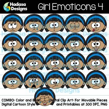 Hadasa Designs: Girl Emoticons Clip Art 4 - Combo Pack