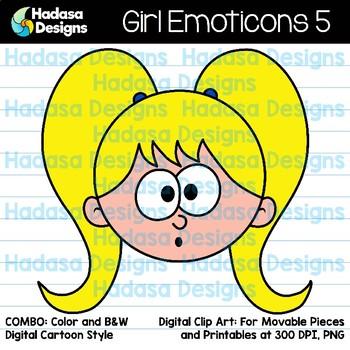 Hadasa Designs: Girl Emoticons Clip Art 5 - Combo Pack