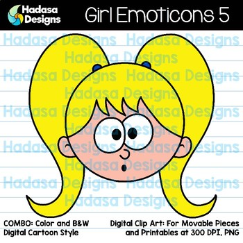 Hadasa Designs: Girl Emoticons Clip Art 5 - Combo Pack