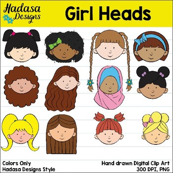 Hadasa Designs: Girl Heads clip art - Color Set