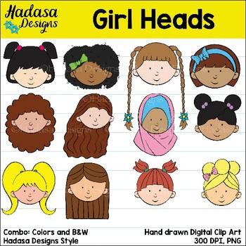 Hadasa Designs: Girl Heads clip art - Combo Pack