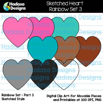 Hadasa Designs: Sketched Heart Clip Art FREEBIE - Rainbow Set 3