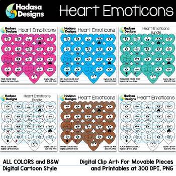 Hadasa Designs: Heart Emoticons Clip Art - Rainbow Bundle