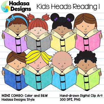 Hadasa Designs: Kid Heads Reading Clip Art Mini Combo 1