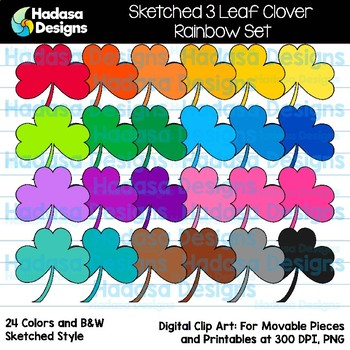 Hadasa Designs: Sketched 3 Leaf Clover Clip Art- Rainbow Set