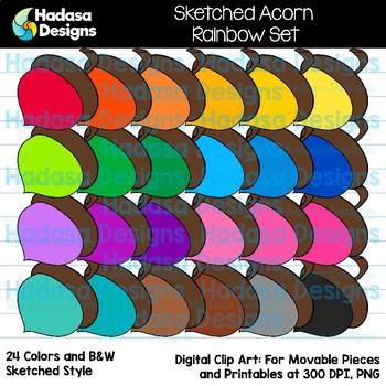 Hadasa Designs: Sketched Acorn Clip Art - Rainbow Set