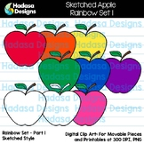 Hadasa Designs: Sketched Apple Clip Art FREEBIE - Rainbow Set 1