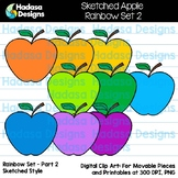 Hadasa Designs: Sketched Apple Clip Art FREEBIE - Rainbow Set 2