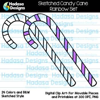 Hadasa Designs: Sketched Candy Cane Clip Art - Rainbow Set