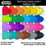 Hadasa Designs: Sketched Candy Heart Clip Art - Rainbow Set