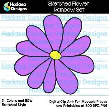 Hadasa Designs: Sketched Flower Clip Art - Rainbow Set