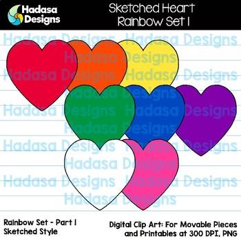 Hadasa Designs: Sketched Heart Clip Art FREEBIE - Rainbow Set 1