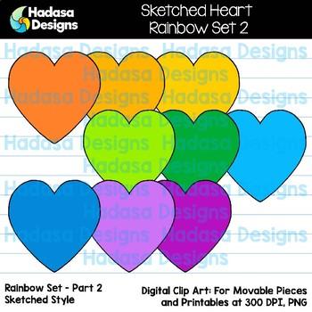 Hadasa Designs: Sketched Heart Clip Art FREEBIE - Rainbow Set 2