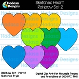Hadasa Designs: Sketched Heart Clip Art FREEBIE - Rainbow Set 2