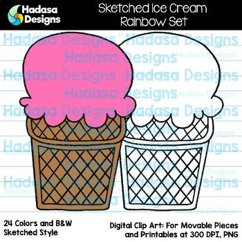 Hadasa Designs: Sketched Ice Cream Clip Art - Rainbow Set