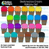 Hadasa Designs: Sketched Ice Cream Clip Art - Rainbow Set