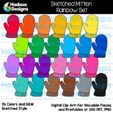 Hadasa Designs: Sketched Mitten Clip Art - Rainbow Set