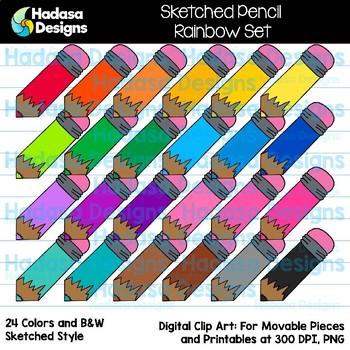 Hadasa Designs: Sketched Pencil Clip Art - Rainbow Set