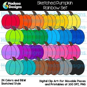 Hadasa Designs: Sketched Pumpkin Clip Art - Rainbow Set