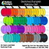 Hadasa Designs: Sketched Pumpkin Clip Art - Rainbow Set