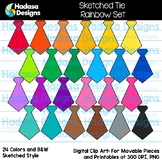 Hadasa Designs: Sketched Tie Clip Art - Rainbow Set