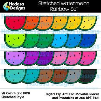 Hadasa Designs: Sketched Watermelon Clip Art - Rainbow Set