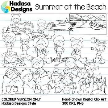 Hadasa Designs: Summer at the Beach Clip Art - B&W Set