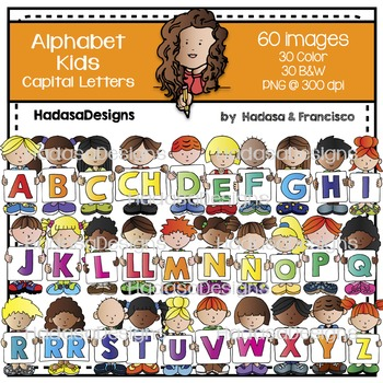Alphabet Kids Capital Letters Clip Art Set