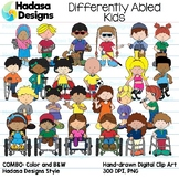 Differently Abled Kids Clip Art Set