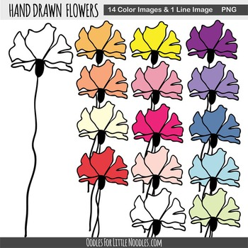 Hand Drawn Single Flowers **Clip Art**